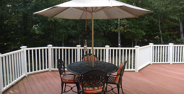 Tables and chairs on decking